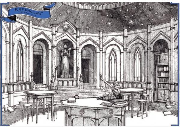 تصویری از خوابگاه ریونکلاو در نسخه مخصوص چهارگروه تالار اسرار