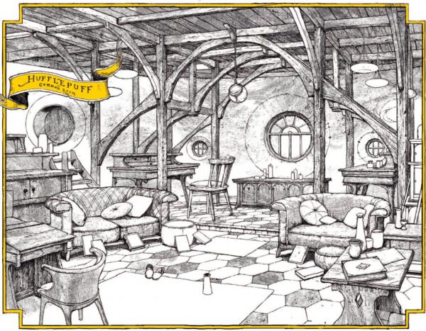 تصویری از خوابگاه هافلپاف در نسخه مخصوص چهارگروه تالار اسرار
