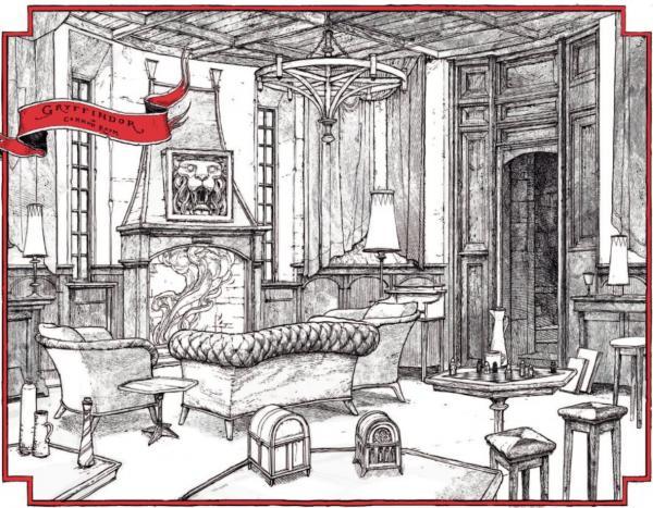تصویری از خوابگاه گریفیندور در نسخه مخصوص چهارگروه تالار اسرار